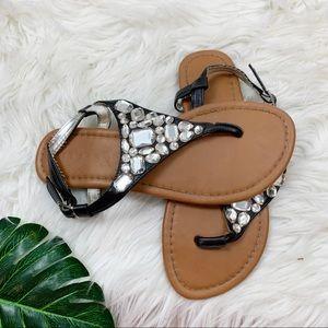 Unbranded Tstrap Embellished Ankle Black Sandals
